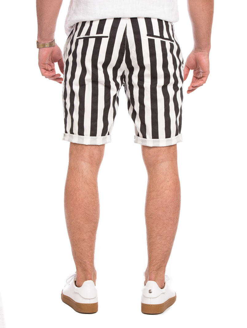 BLACK AND WHITE STRIPED SHORTS