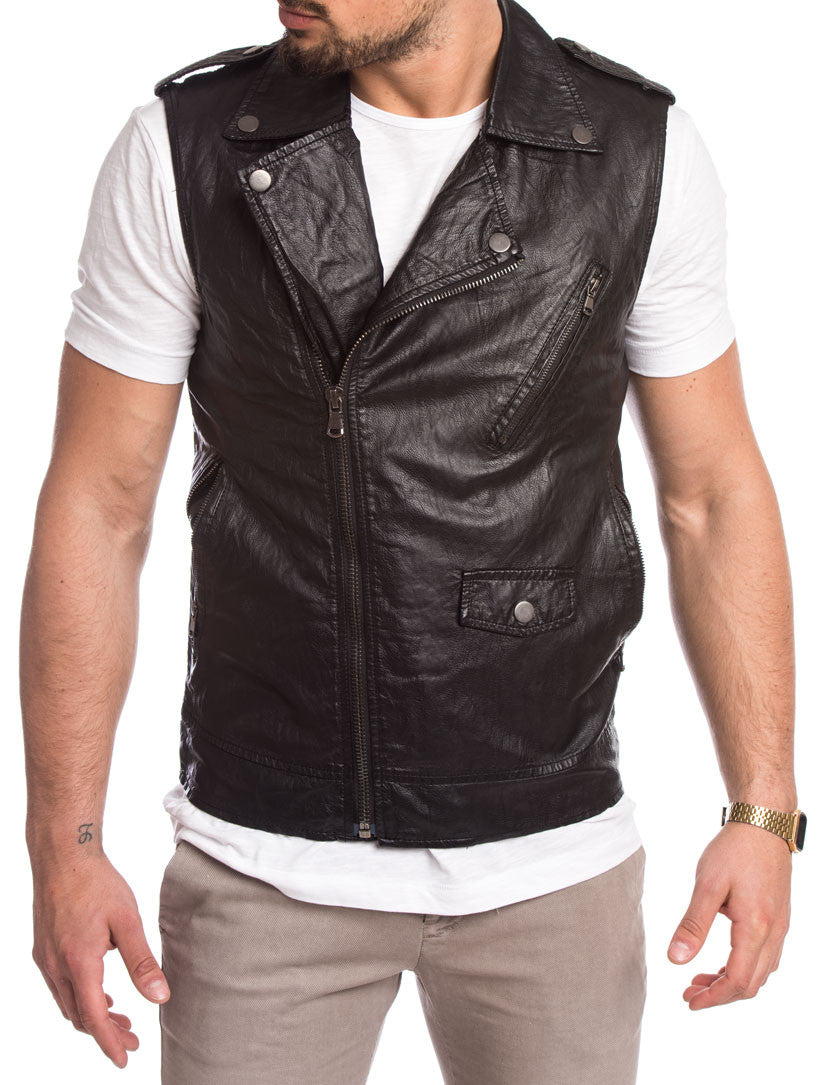 MEN'S CLOTHING | BLACK VEST JACKET | SLEEVELESS MOTORCYCLE JACKET | BIKER | BLACK | SKINNY FIT | NOHOW STREETWEAR COLLECTION | NOHOW