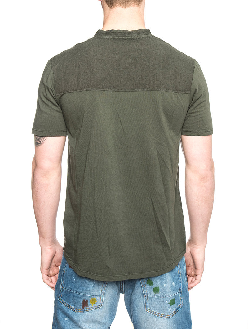 SAHARA LINEN SHIRT IN MILITARY GREEN