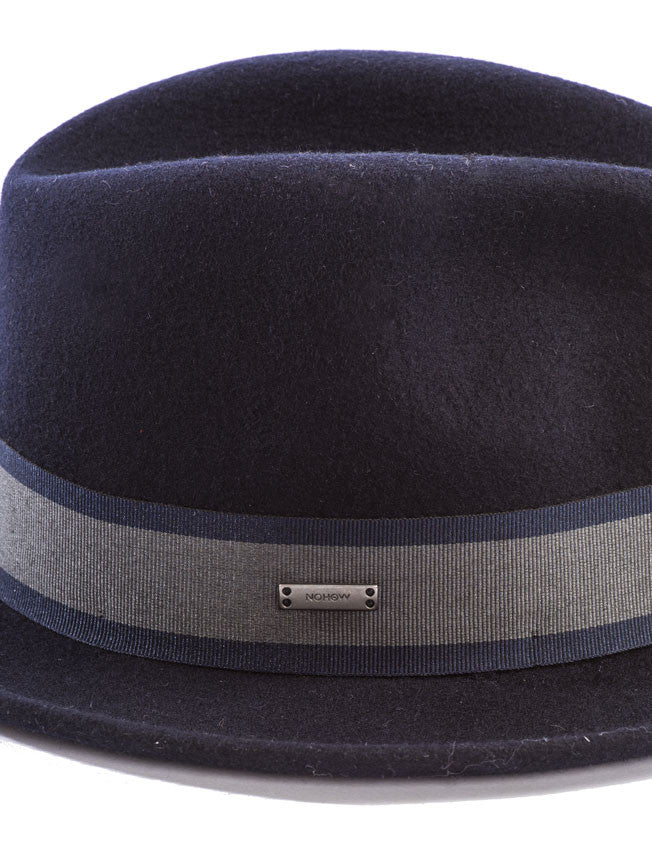 MEN'S ACCESSORIES | CAPS & HATS | DARK BLUE STRIPED PANAMA | BORSALINO | FEDORA | FELTED WOOL | NOHOW STREET COUTURE | NOHOW