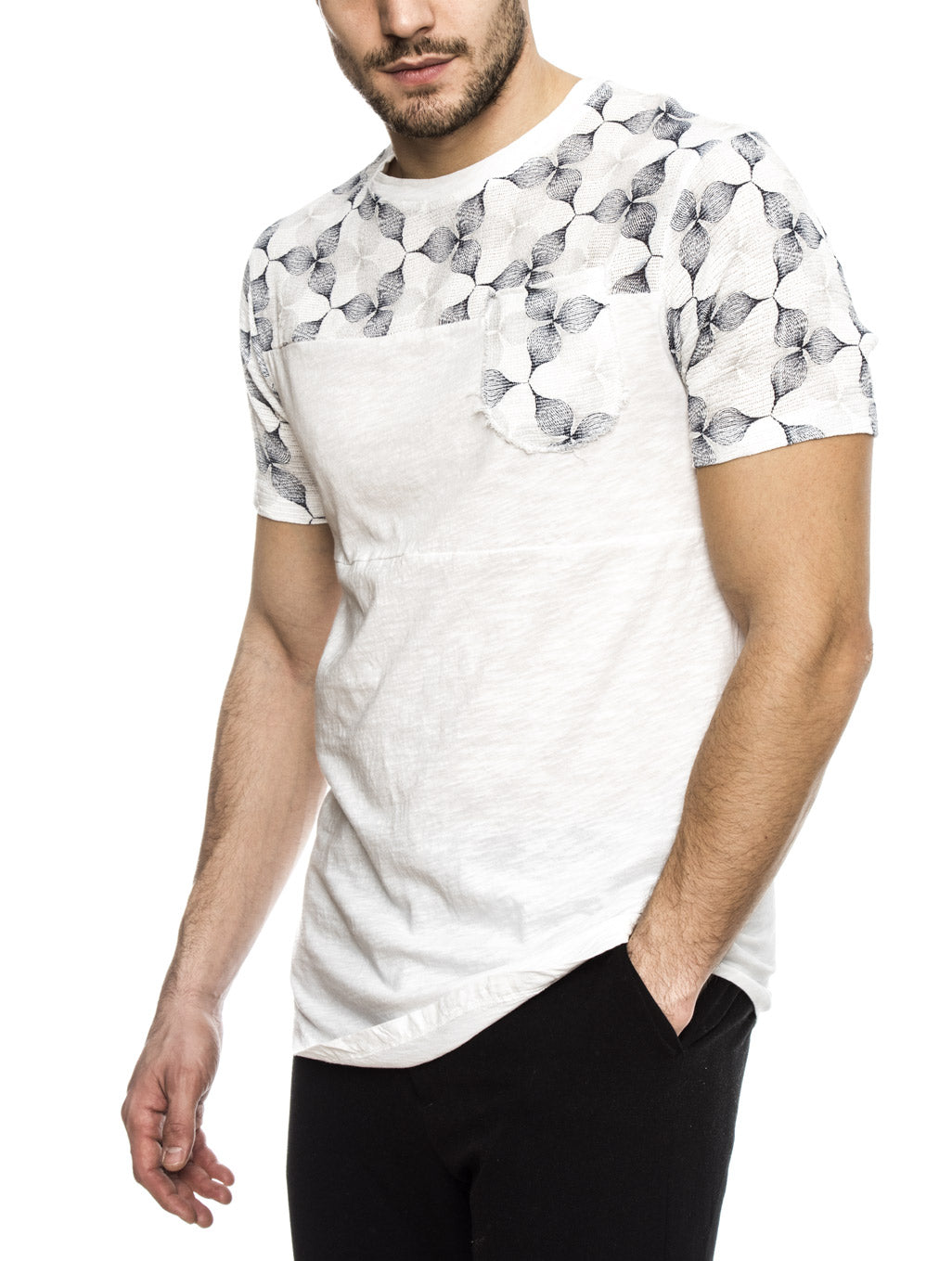 CRONO COTTON T-SHIRT IN PRINTED WHITE