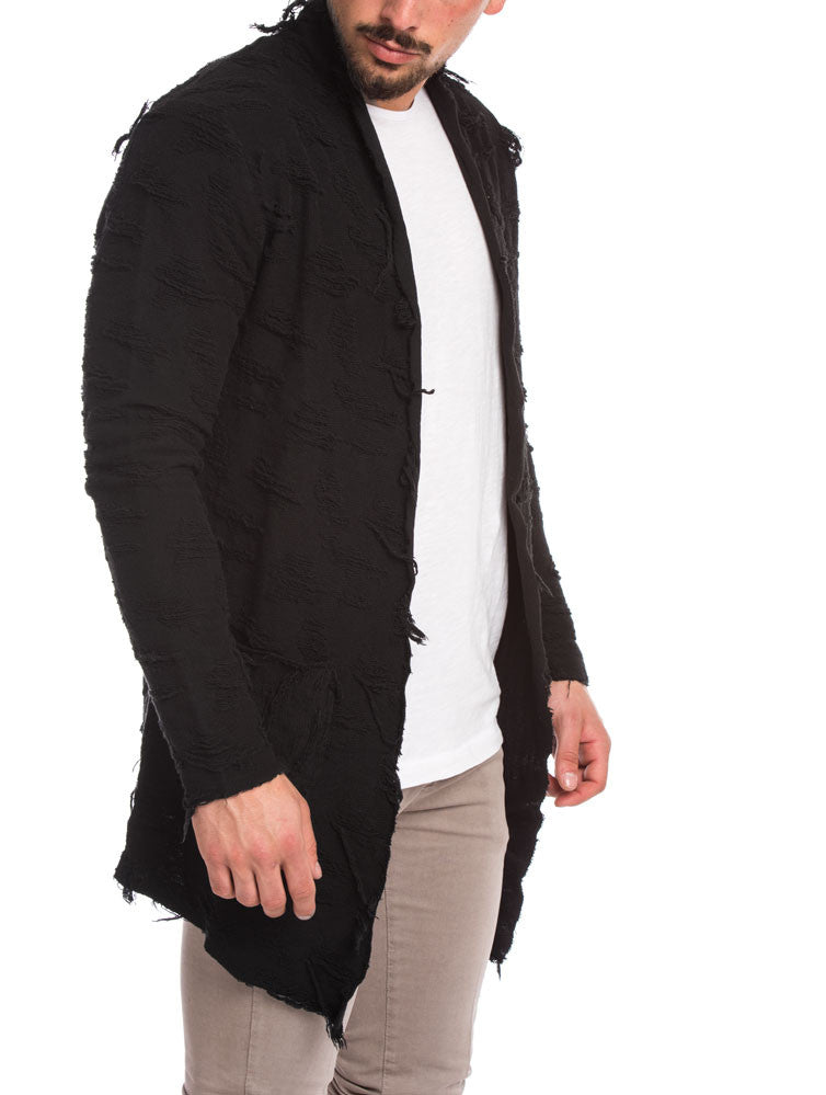MEN'S CLOTHING | BLACK STRAPS CARDIGAN | COTTON | ALL-OVER DISTRESSING | OPEN FRONT | NOHOW STREETWEAR COLLECTION | NOHOW