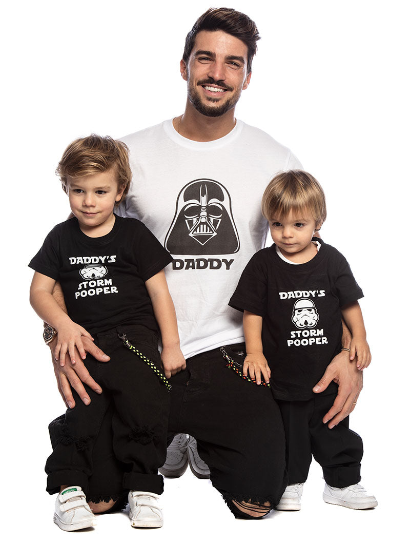DARTH POOPER T-SHIRT IN BLACK AND WHITE