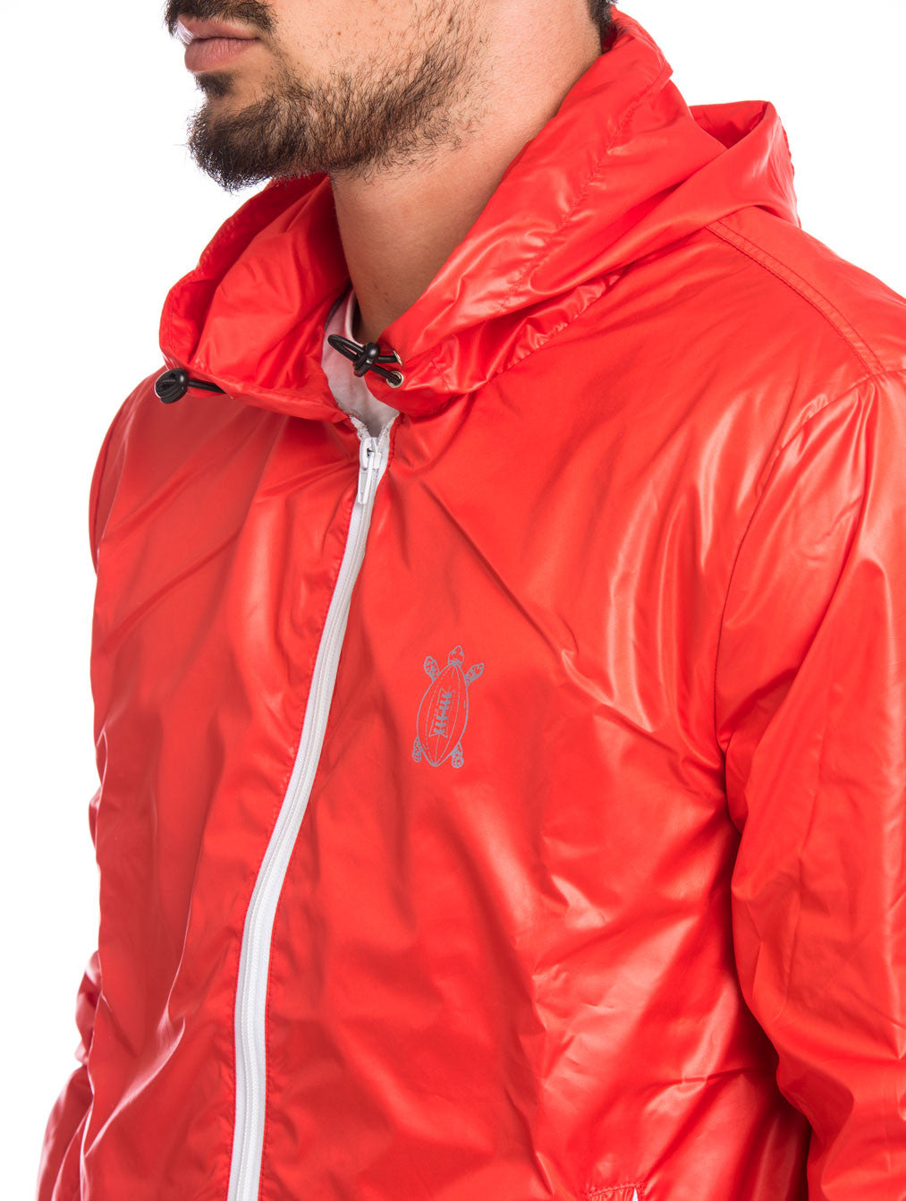 MEN'S CLOTHING | LOBSTER RUGBY PATCH JACKET | RED | WINDBREAKER JACKET| TECHNICAL FABRIC | HOOD |COTTON JERSEY CUFFS | ELBOW PATCHES | GABARDINE PATCH | PRINTED NUMBER | ZIP POCKETS | MADE IN ITALY | SOLASIE' | NOHOW