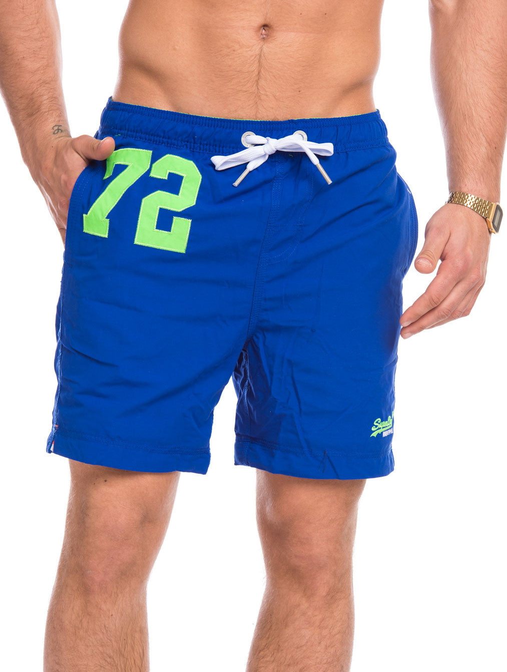 MEN'S CLOTHING | SWIMWEAR | BEACHWEAR | PREMIUM WATER POLO | BLUE | REGULAR FIT | MID-LENGTH | SWIM SHORTS | #SUMMERVIBES | SUPERDRY | NOHOW
