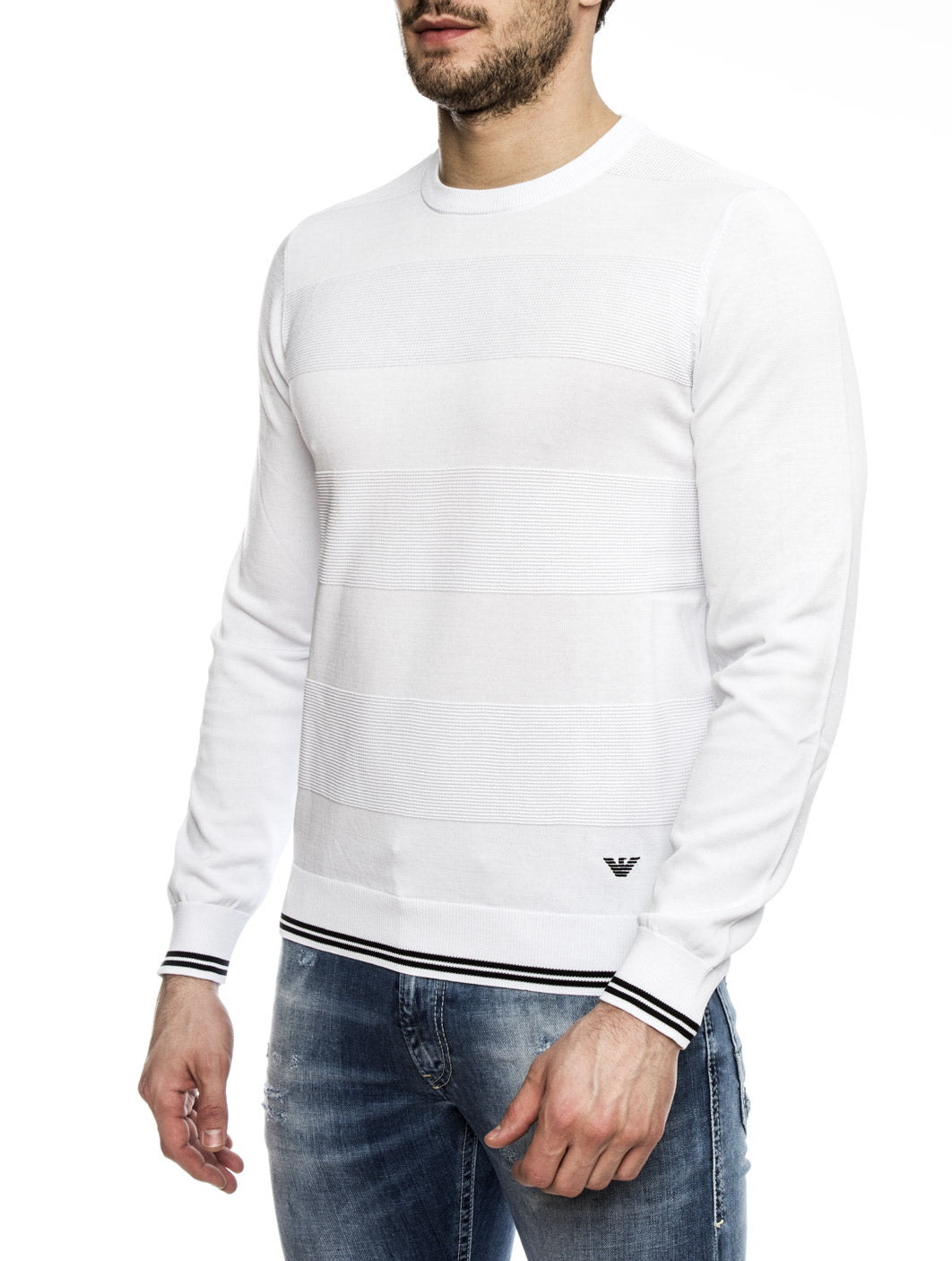 MAN KNITWEAR PULLOVER IN OPTICAL WHITE