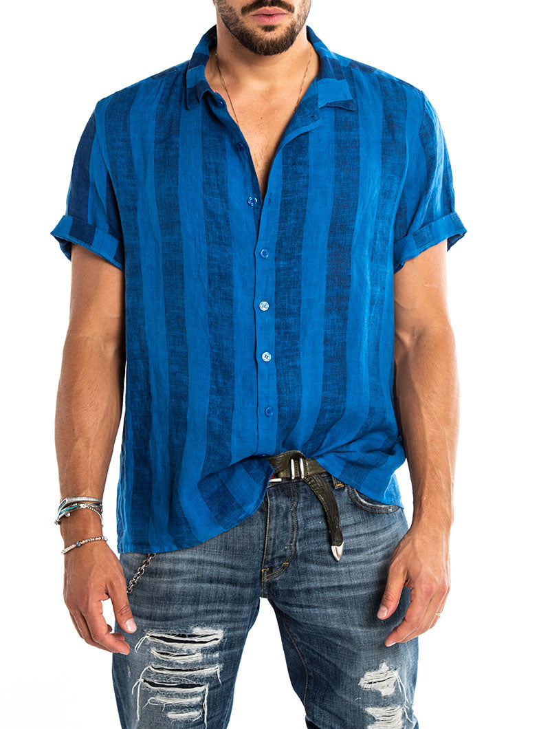 KAI STRIPED SHIRT IN AZURE