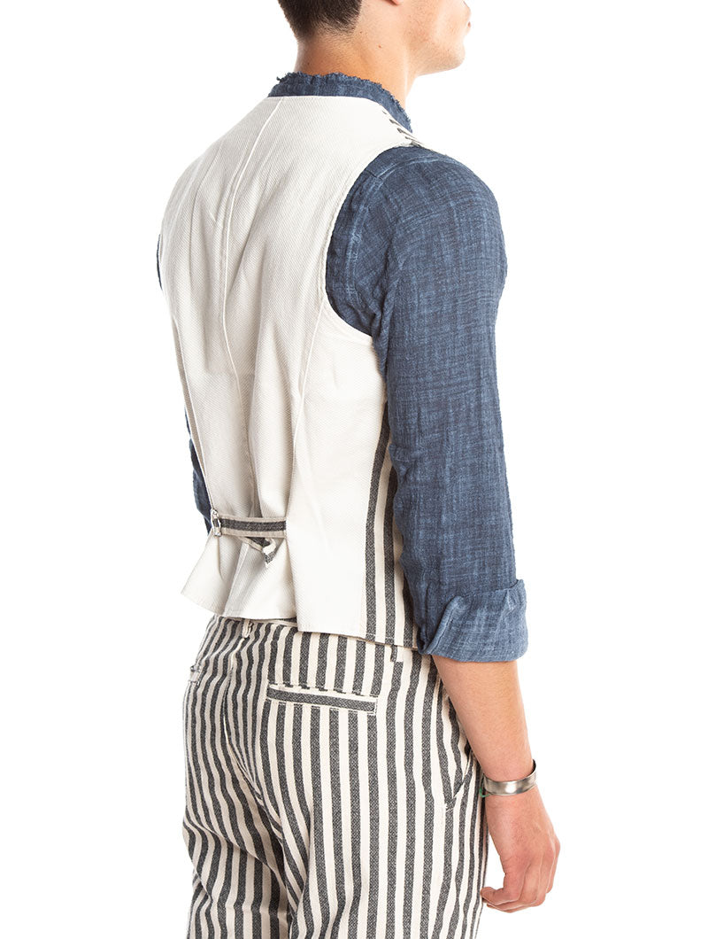 GRANDAD STRIPED VEST IN GREY AND WHITE