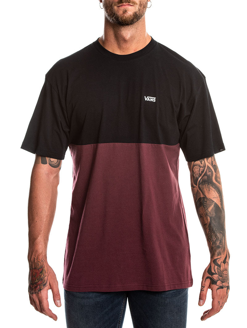 MN COLORBLOOK TEE IN BLACK AND BORDEAUX