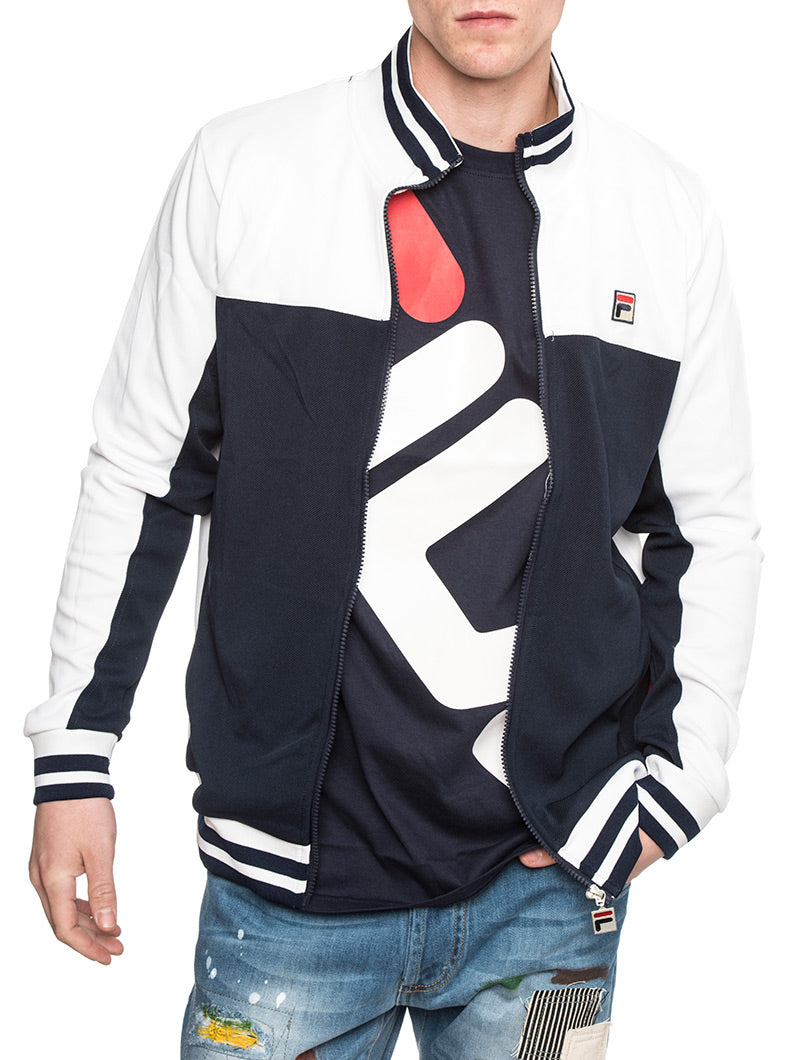 TIEBREAKER TRACK JACKET IN WHITE AND BLUE