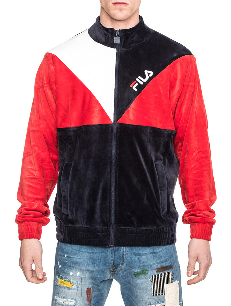 TOBY VELOUR TRACK JACKET IN BLUE RED AND WHITE