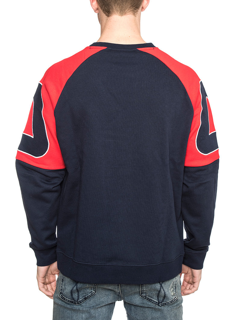 ARIA ARCHIVE RAGLAN SWEATSHIRT IN BLUE AND RED