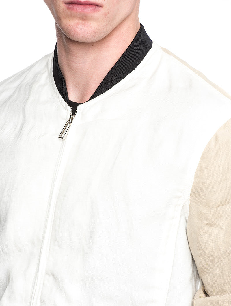 MAN WOVEN BLOUSON IN OPTICAL WHITE