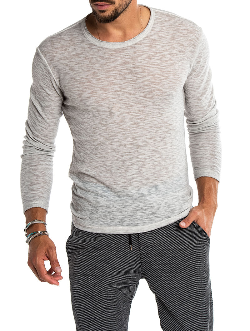 AALOK COTTON LONG-SLEEVE IN LIGHT GREY