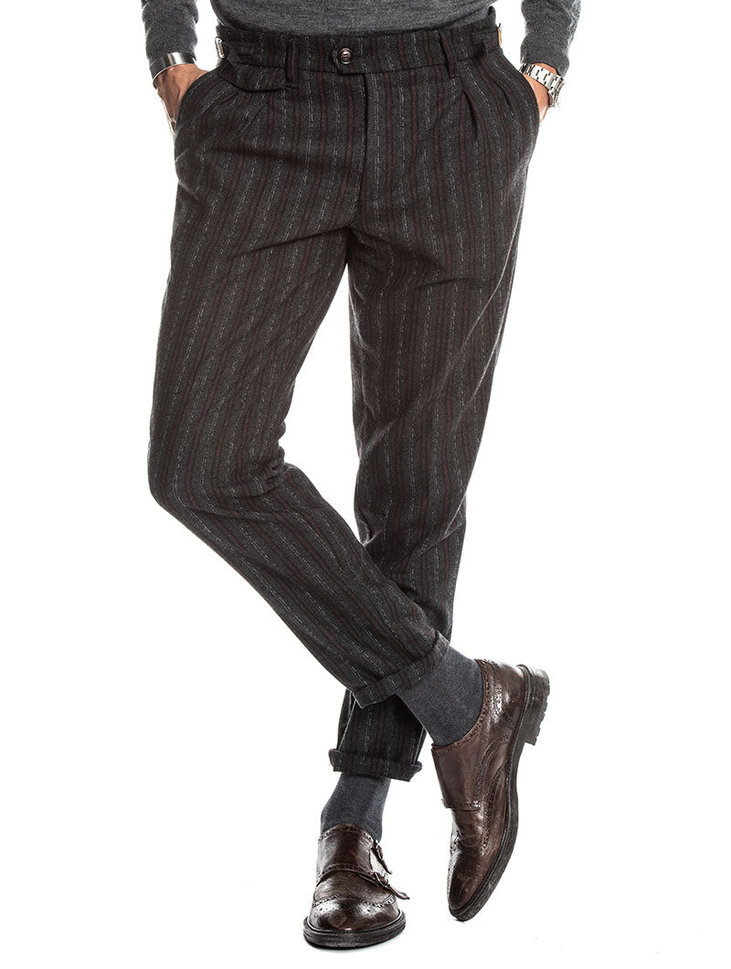 ALDOUS STRIPED PANTS IN GREY AND BORDEAUX