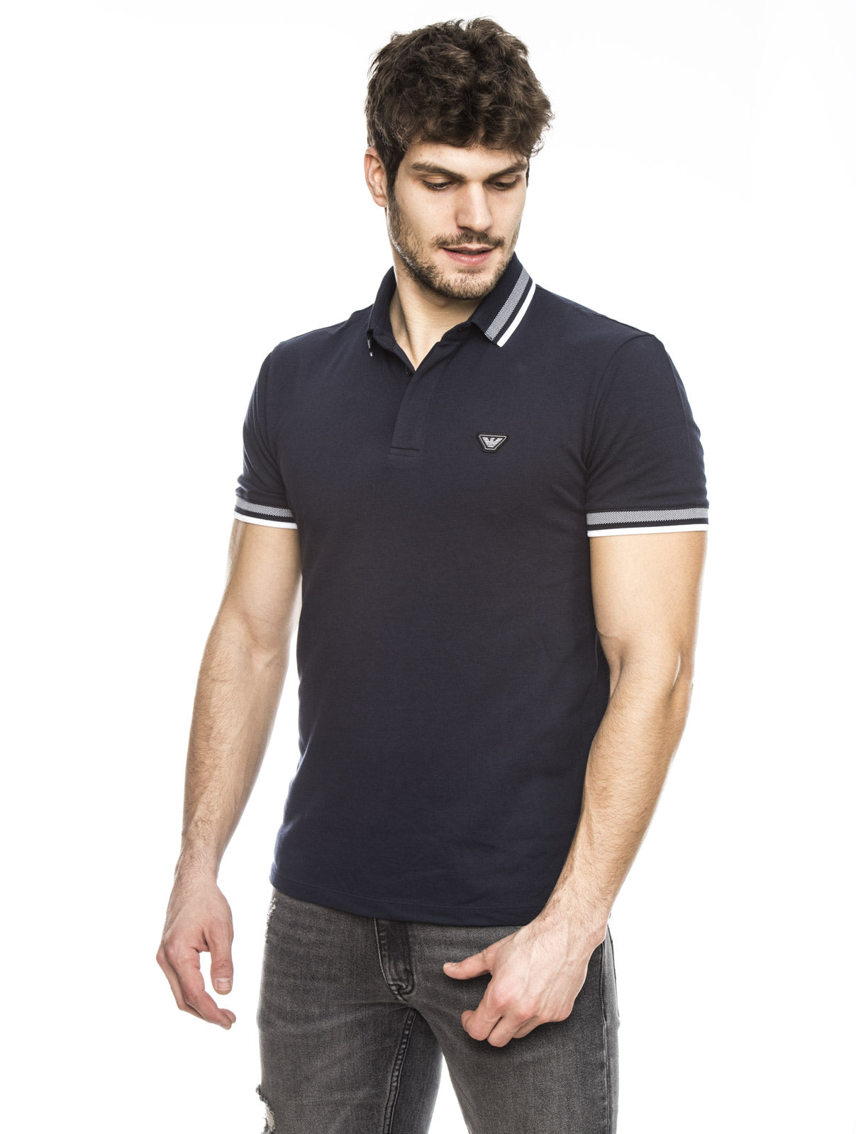 MAN JERSEY POLO IN INDIGO BLUE
