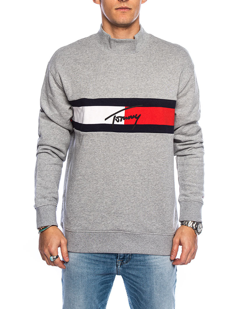 TJM JACQUARD FLAG PANEL SWEATSHIRT IN GREY