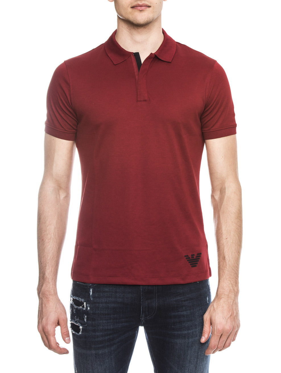 MAN JERSEY POLO IN GRANADE RED