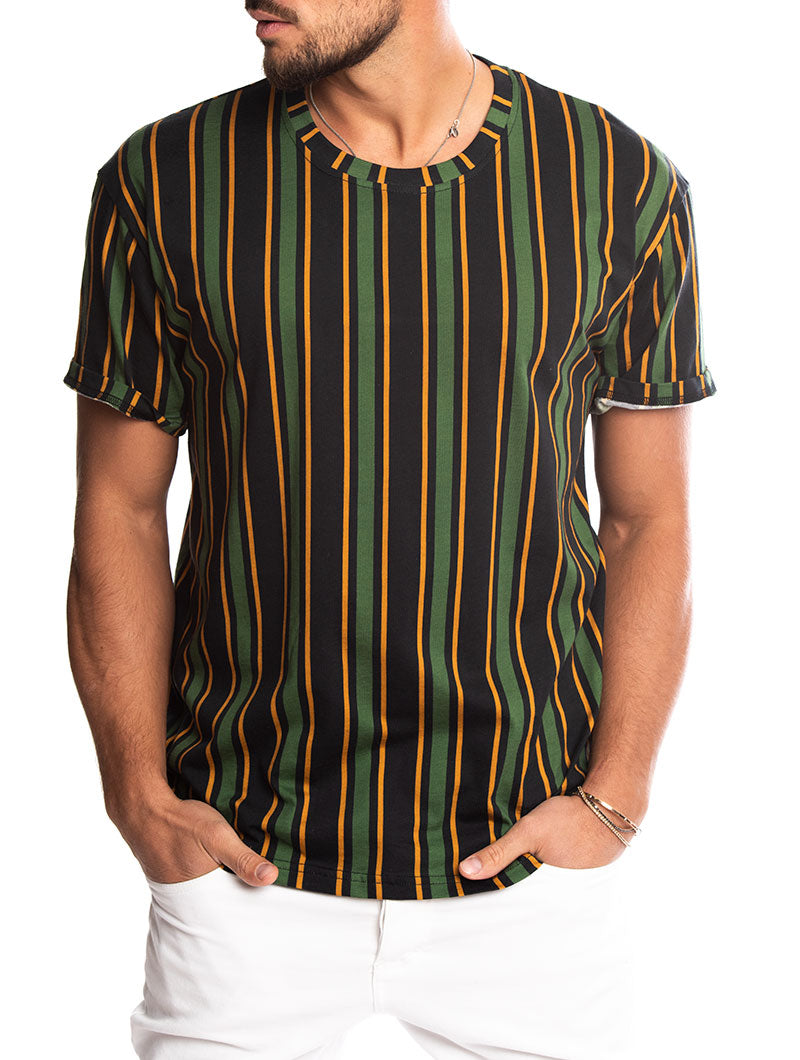 bb326771c7 Men's Striped T-Shirt in Green, Black and Yellow – Nohow Style