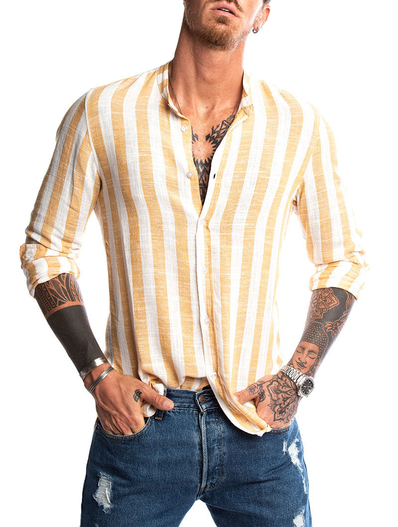 KOJO STRIPED SHIRT IN WHITE AND YELLOW