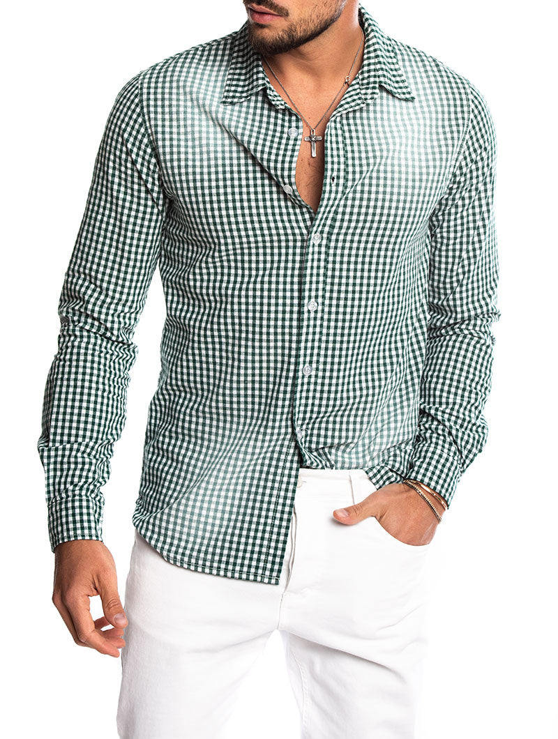 BAKU CHECKED SHIRT IN GREEN AND WHITE
