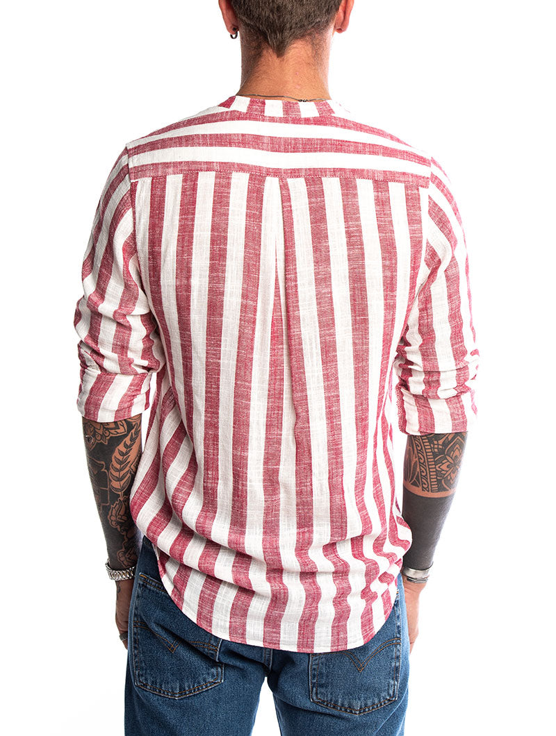KOJO STRIPED SHIRT IN WHITE AND RED