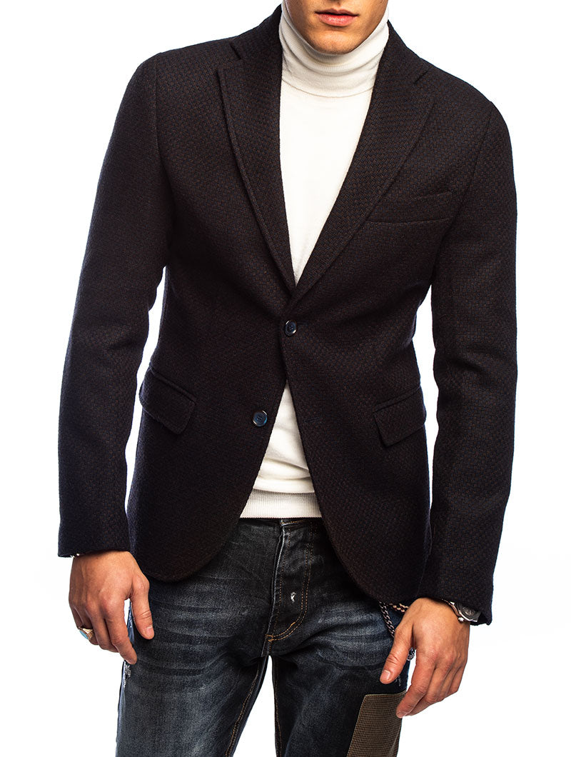 BEARWEAR BLAZER IN BLUE AND BROWN