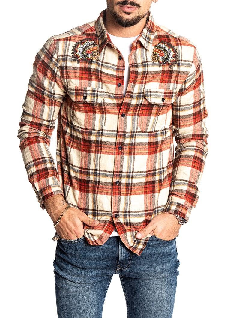 HOOK CHECKED SHIRT IN RED AND BEIGE