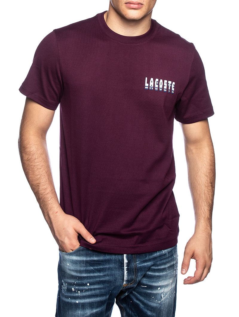 LACOSTE BASIC LOGO T-SHIRT IN BORDEAUX