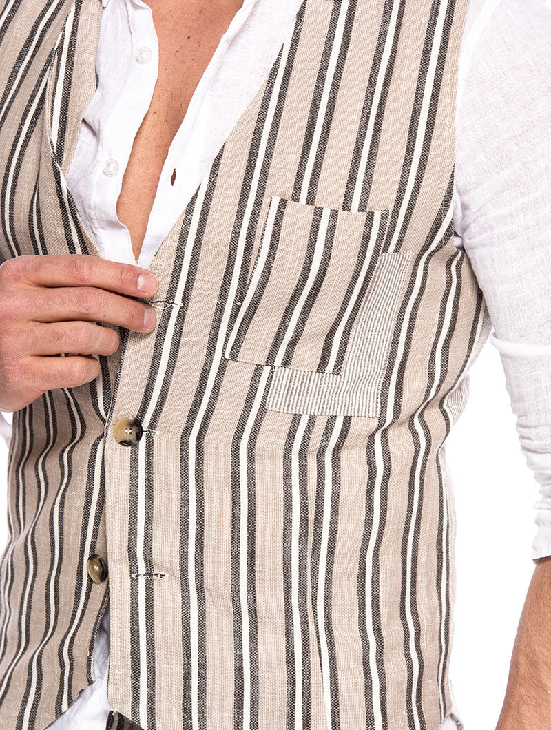 MANILA STRIPED VEST IN BEIGE