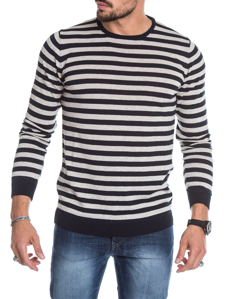 MEN'S CLOTHING | BLUE GREY STRIPED SWEATER | LIGHTWEIGHT KNIT | CREW NECK | LONG SLEEVES | RIBBED TRIMS | FITTED CUFFS | SKINNY FIT | NOHOW STREEET COUTURE | NOHOW