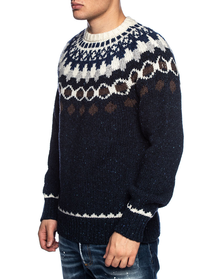 NAP WOOL JACQUARD CREWNECK IN PEACOAT BLUE