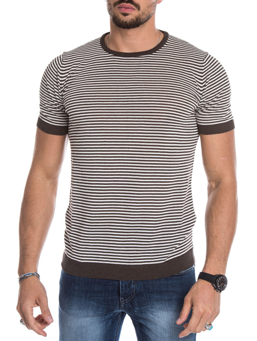MEN'S CLOTHING | COFFEE CREAM STRIPED T-SHIRT | KNITTED T-SHIRT | BROWN | COTTON KNIT | SHORT SLEEVES | CREW NECK | SKINNY FIT | NOHOW STREET COUTURE | NOHOW
