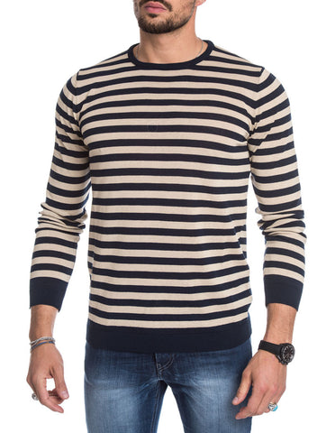 MEN'S CLOTHING | BLUE BEIGE STRIPED SWEATER | LIGHTWEIGHT COTTON KNIT | CREW NECK | LONG SLEEVES | RIBBED TRIMS | FITTED CUFFS | NOHOW STREET COUTURE | NOHOW