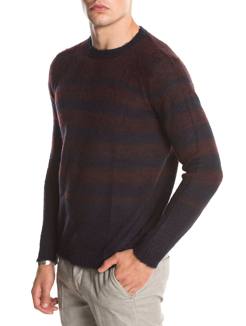 MACUMBA STRIPED SWEATER IN BLUE AND BURGUNDY