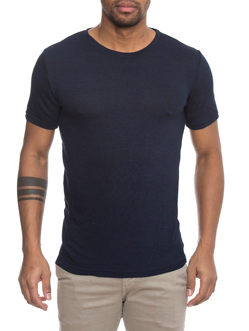 KNITTED T-SHIRT IN BLUE