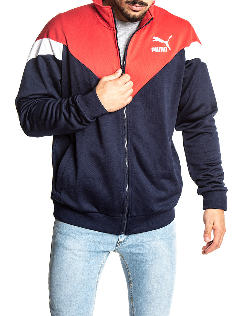 MCS TRACK JACKET PEACOAT IN BLUE AND RED