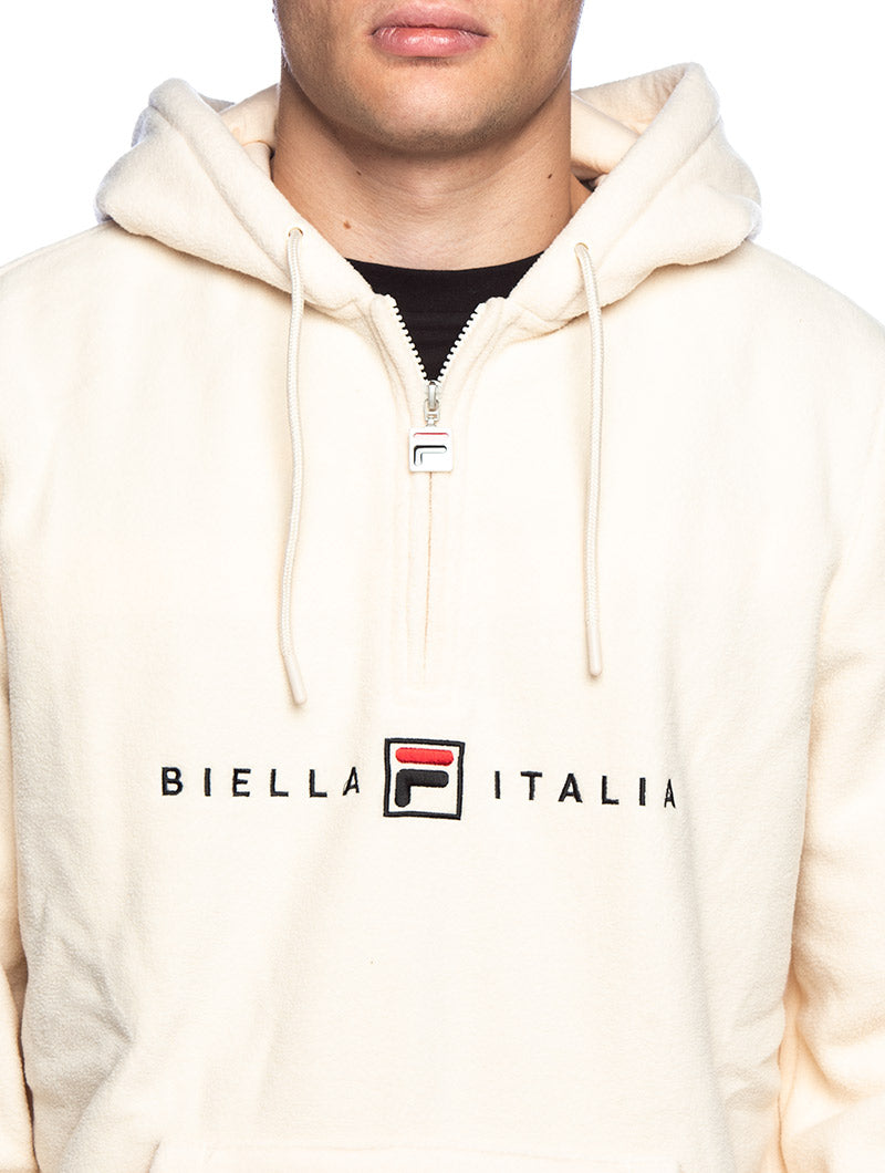 MEN POLAR FLEECE HOODIE IN CREAM