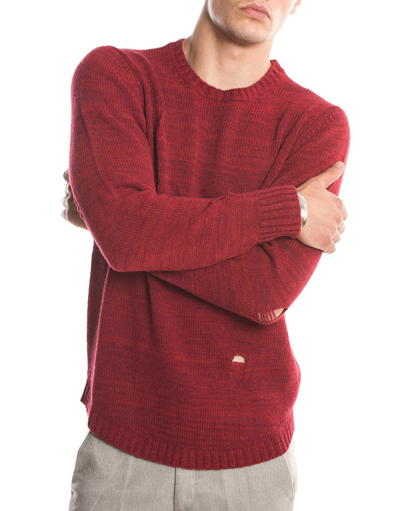 PATRIC DISTRESSED SWEATER IN RED