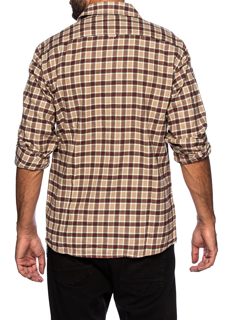 CLASSIC FLANNEL SHIRT IN BEIGE CHECK