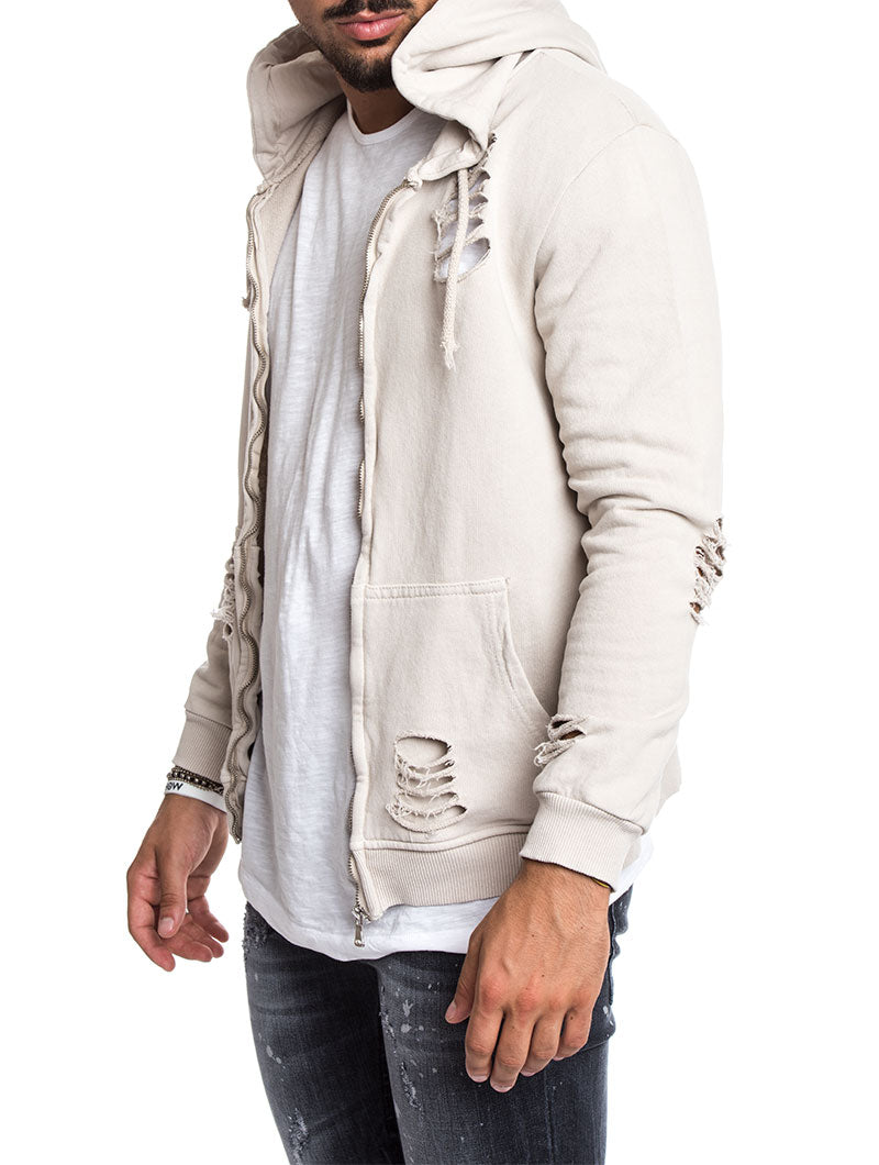 MEN'S CLOTHING | DISTRESSED HOODIE IN SAND | SLIM-FIT | NOHOW