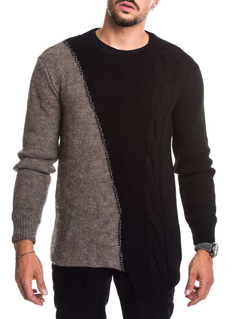 ANDREW CABLE SWEATER IN MUD AND BLACK