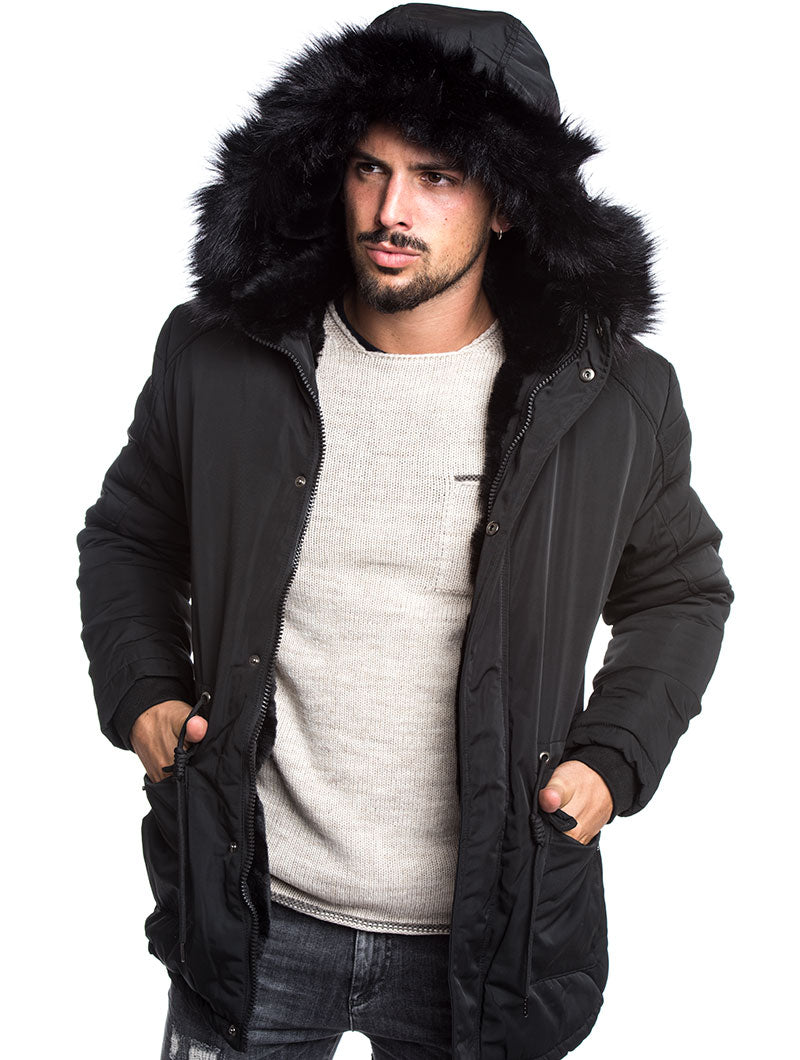 MEN'S CLOTHING | PADDED PARKA IN BLACK WITH FAUX FUR HOOD | DETACHABLE HOOD | NOHOW