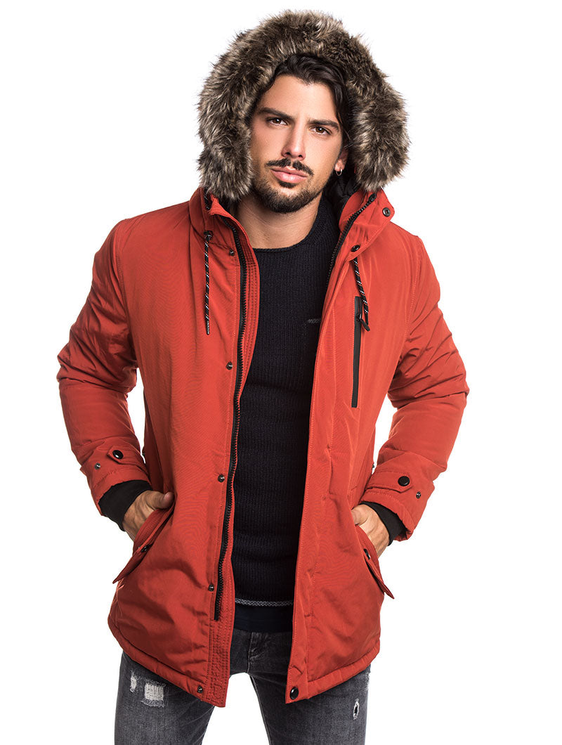 MEN'S CLOTHING | HOODED JACKET IN ORANGE | DETACHABLE FAUX-FUR TRIM | NOHOW