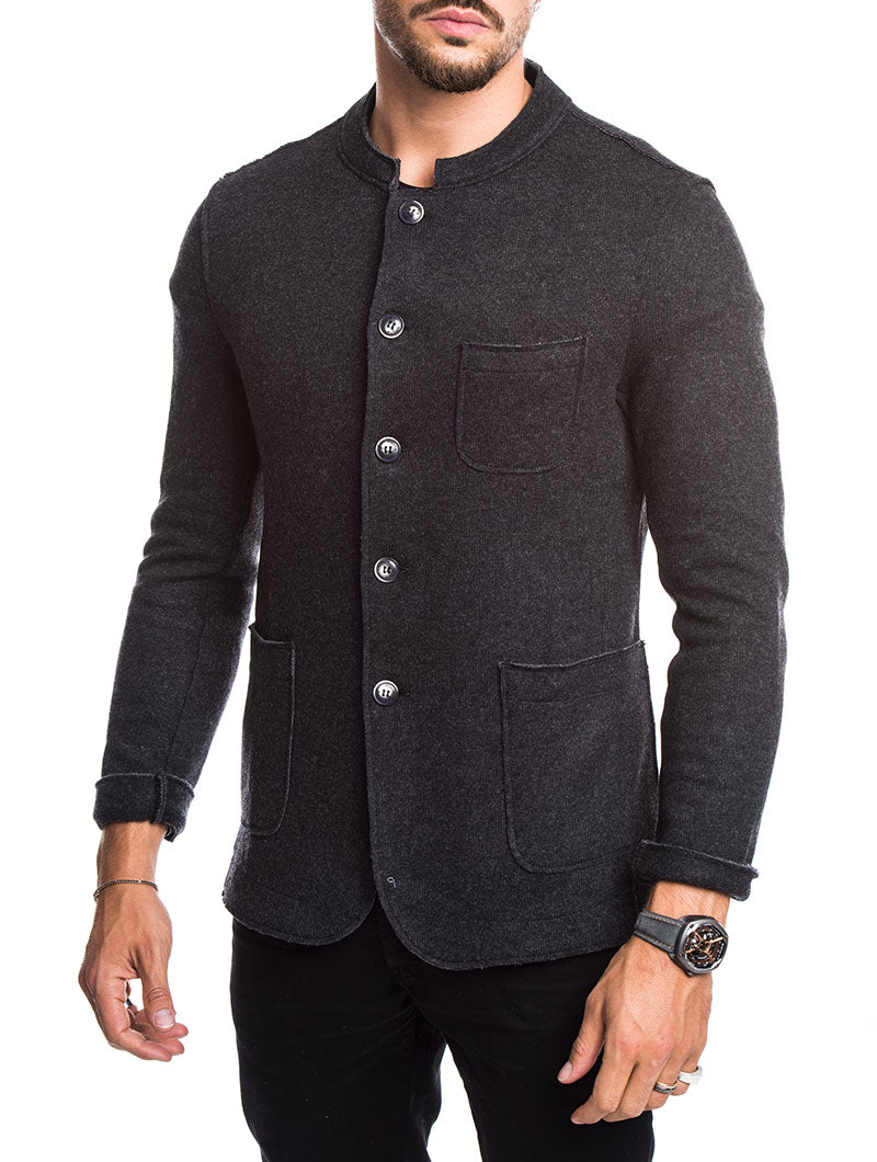 KOREAN COLLAR KNITTED BLAZER IN CHARCOAL