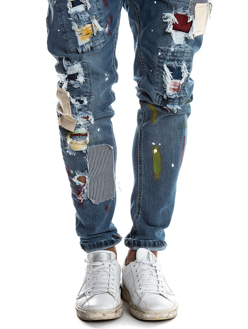 TOBAGO PATCHED JEANS IN BLUE