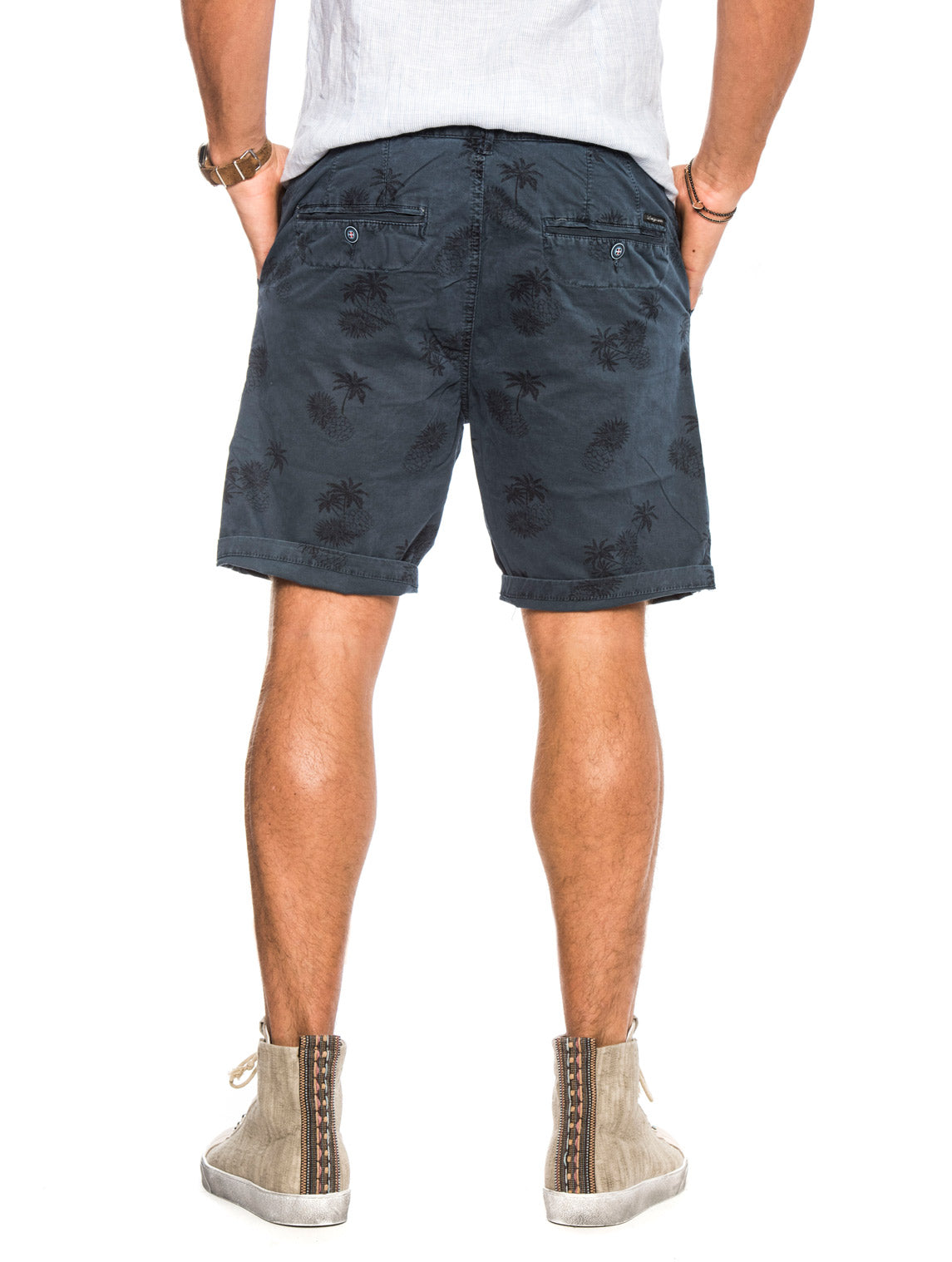 RAINBOW SHORTS WITH PRINTED PALMS IN BLUE NAVY