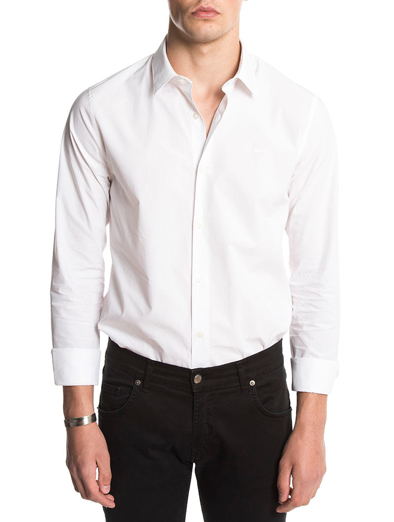CKJ LOGO SLIM SHIRT IN BRIGHT WHITE