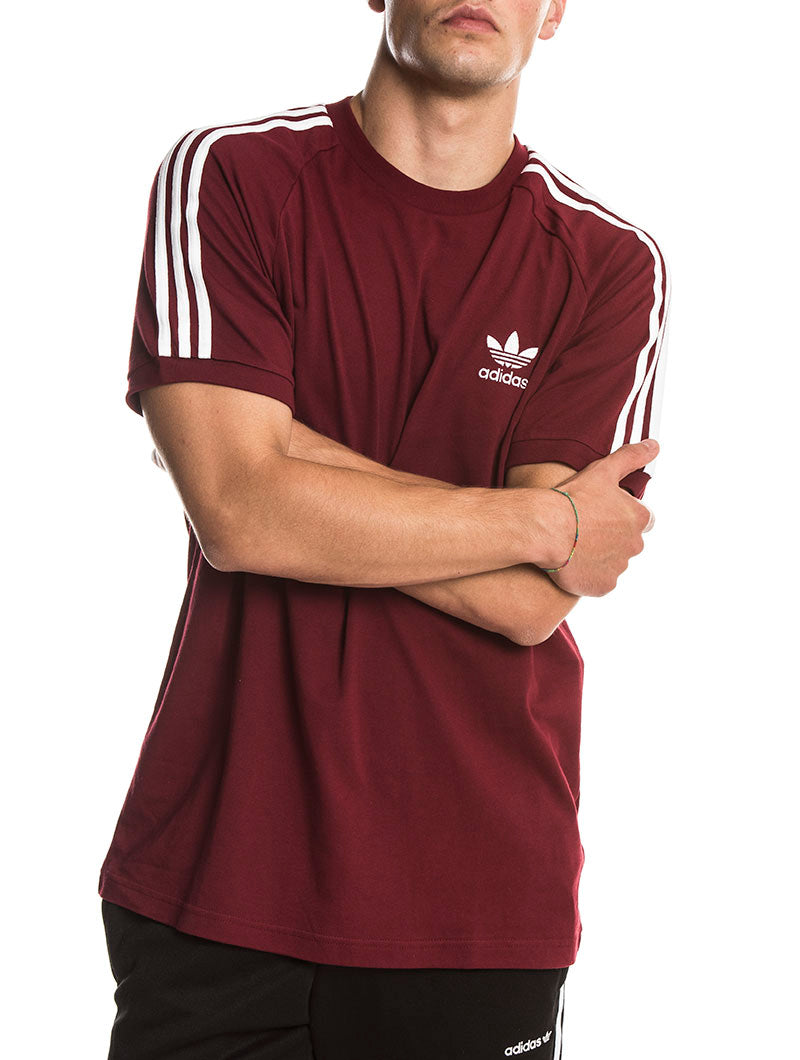 3 STRIPES TEE IN COLLEGIATE BURGUNDY