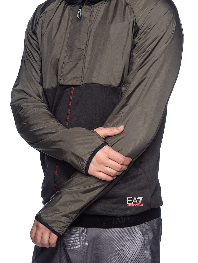 EA7 SWEATSHIRT JACKET IN GREEN AND BLACK